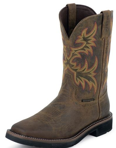 Men S Justin Stampede Waterproof Square Toe Style Wk4689